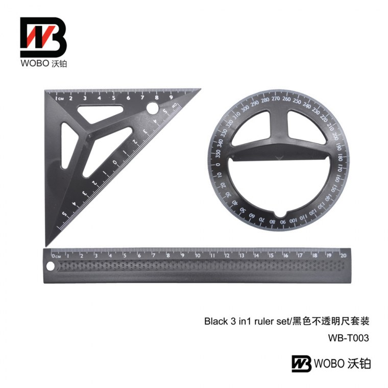 black 3 in 1 ruler set